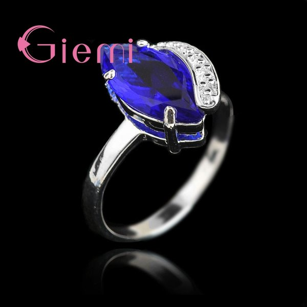 giemi fancinating beautiful birthday gift set exquisite rhinestone crystal 925 sterling silver ring for women jewelry