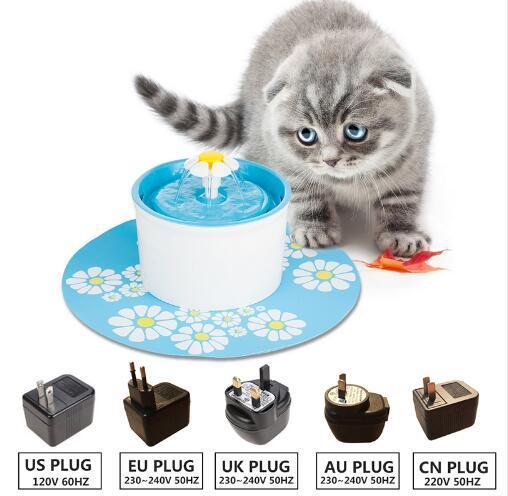 110 220 V Elektrikli Çiçek Çeşmesi 1.6L Otomatik Köpek Kedi Su Besleyici İçme Kase Pet İçecek Kedi Su Pınarı