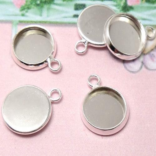 Antique silver toned pendant trays oval filigree framed cabochon mountings , jewelry findings