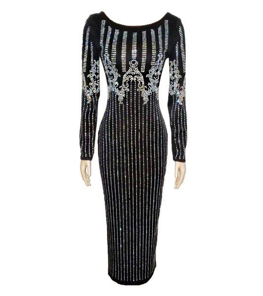 Customizing Hot Fashion Elegant 2019 Bandage Drilling Bling Dress Full Sleeve Long Evening Dresses O-Neck Sexy Big Elastic Bodycon Dress