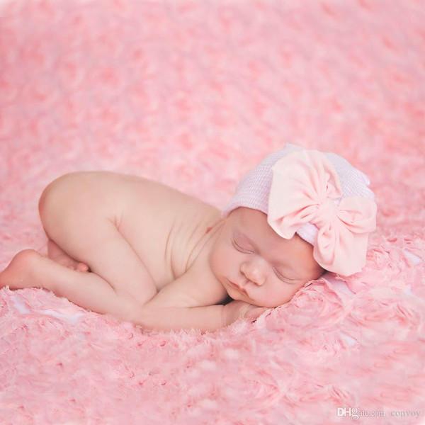 Newborn baby big bow Hat Caps cute Bow soft Cotton Warm headwrap Fashion bowknot heading cap for infant cute Headwear Hair Accessories BH37