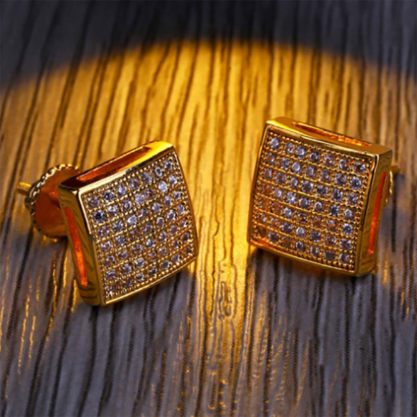 Mens 3D XL Large CZ Micro Pave Bling Bling Earrings Square Curved Screen Block Screw Back Stud Earring Hip hop Jewelry