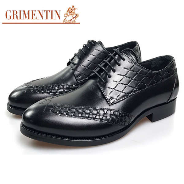 GRIMENTIN Hot sale New men dress shoes Italian fashion oxford shoes 100% genuine leather pointed toe lace-up formal business male shoes OM65