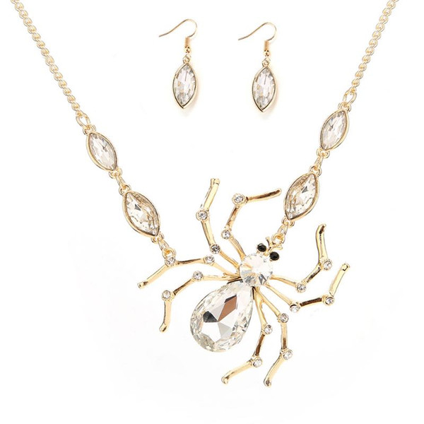 2018 Hot Spider Pendant Halloween Big Gold Spider With Rhinestone Necklace With One Pair Earring Exaggerated Vintage Fashion Accessories