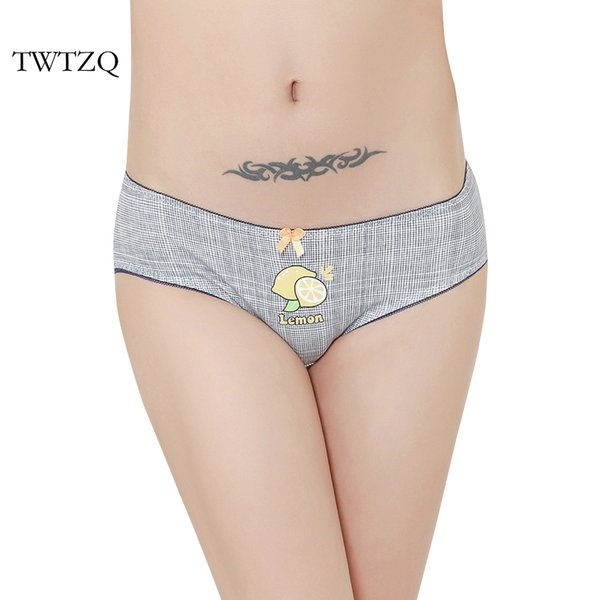 TWTZQ Hot Sale Women Panties Sexy Cotton Underwear Cute Paid Lemon Printed Intimate Briefs Breathable Underpants Female A3NK167