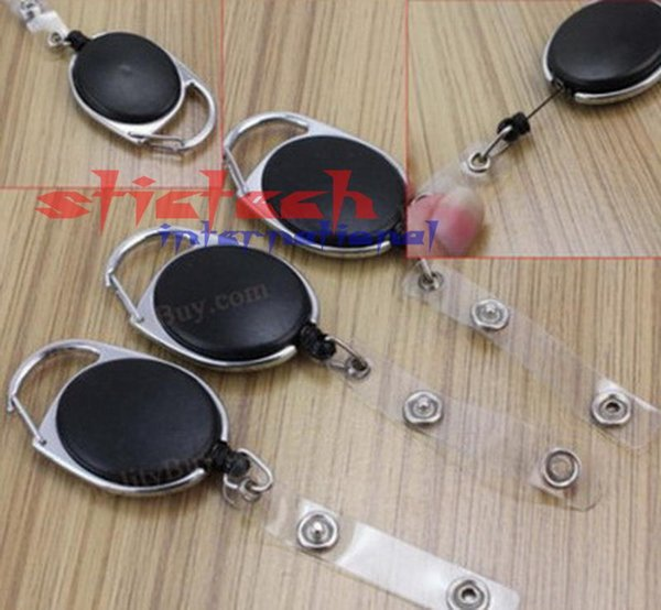 by dhl or ems 200 pcs Retractable Pull Key Ring Chain Reel ID Lanyard Name Tag Card Badge Holder Reel Recoil Belt Key Ring Clip
