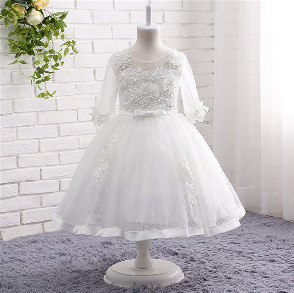 Romantic Puffy Lace Flower Girl Dress for Weddings Real Picture Girl Pageant Gown for Teens TZ002