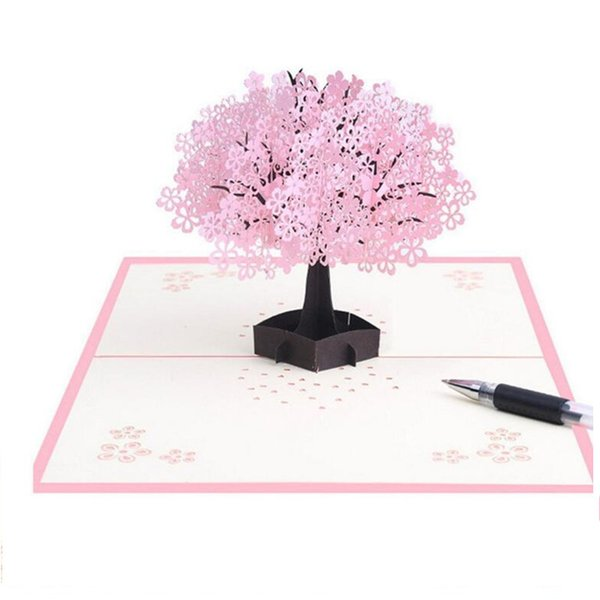 2019 Handmade Pop Up Romantic Birthday Anniversary Dating Card For Husband  Wife Boyfriend Girlfriend Cherry Blossom Tree With Couples 090 From