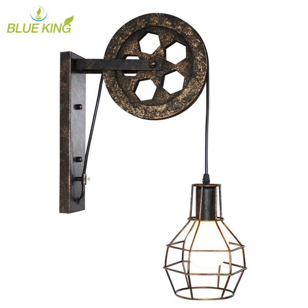 Creative lifting pulley light retro loft vintage wood rustic wall lamp aisle bedside corridor porch restaurant bar cafe bar light