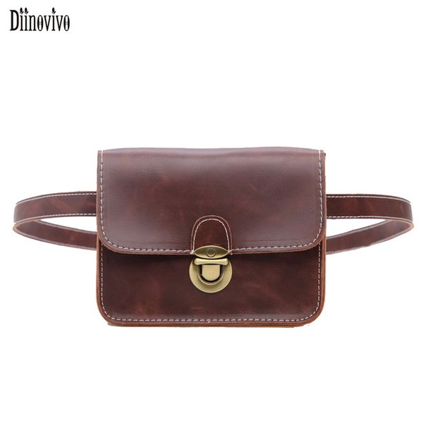 Diinovivo Vintage England Style Waist Bags For Women PU Leather Fashion Belt Bag New Casual Small Hand Free Bags Waist Pack A016