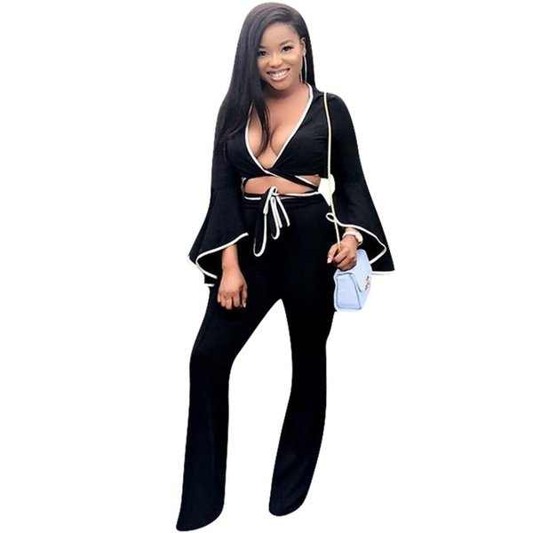 Deep V Neck Sexy 2 Piece Set Women Long Flare Sleeve Lace Up Crop Top And Fit Slim Long Flare Pants Autumn Black Outfit