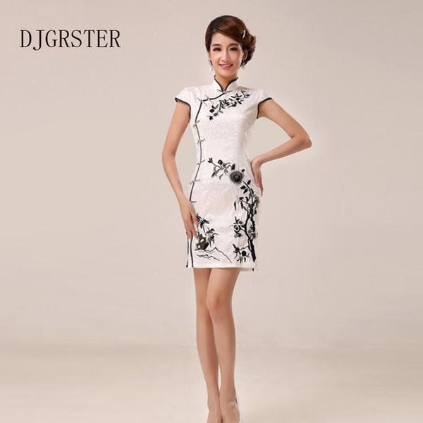 DJGRSTER Branco Cheongsam Bordado Flores Chinês Tradicional Qipao Elegante Mulheres Festa Formal Oriental Vestidos Tangsuit Placa