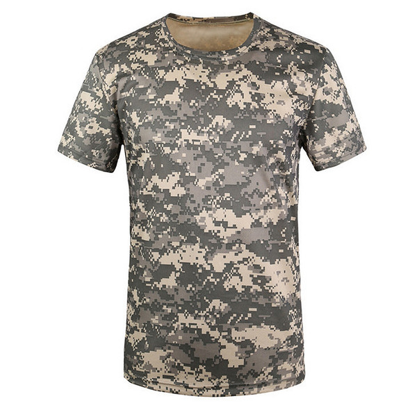 New Outdoor Hunting T-shirt Men Breathable Army Tactical Combat T Shirt Dry Sport Camo Camp Tees-ACU Green S