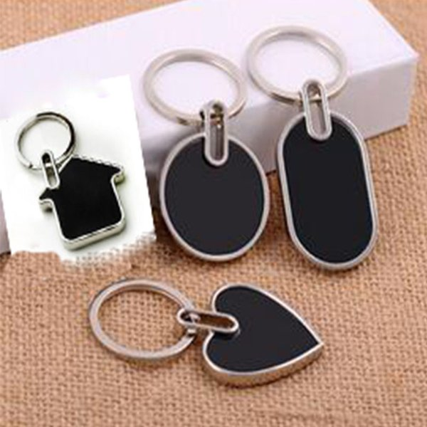 Wholesale 10Pcs Blank Double-sided Tungsten steel Metal Key Chain Promotion Key Tags Gift Customize Logo Laser Keyrings -Free Shipping