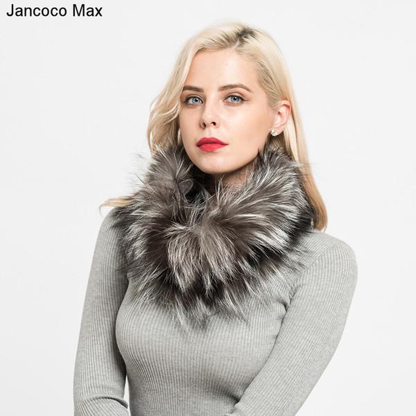 Jancoco Max 2018 New Real Fuchspelz Schals Winter Dicke Warme Top Qualität Schal Natürliche Pelz Schalldämpfer S7120 Y18102010