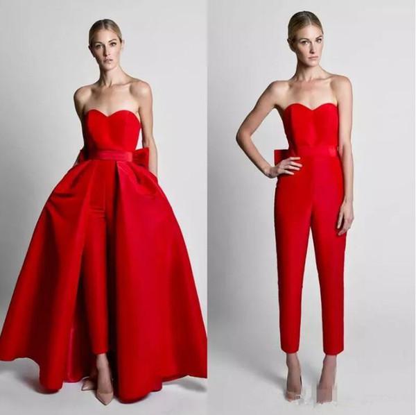 New Red 2019 Krikor Jabotian Tute Abiti da sera con fiocco staccabile treno Sweetheart Prom convenzionale abiti del partito