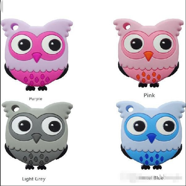 top popular Cute Silicone Owl Teether Food Grade Owl Pendant Baby Toys Teether Chewable Sensory Necklace Nurse Gift Baby Care K0130 2020