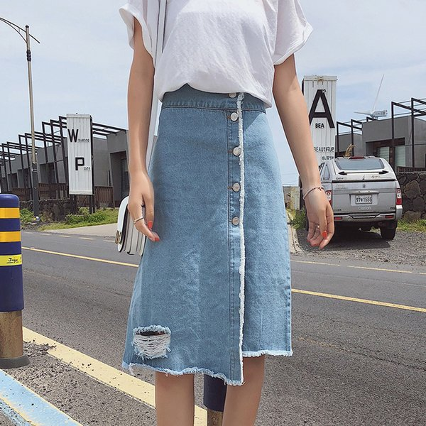 2018 Summer New Pattern Korean Single Row Buckle Cowboy tutu Skirt denim womens for Side Opening A Piece Of Type Half-body