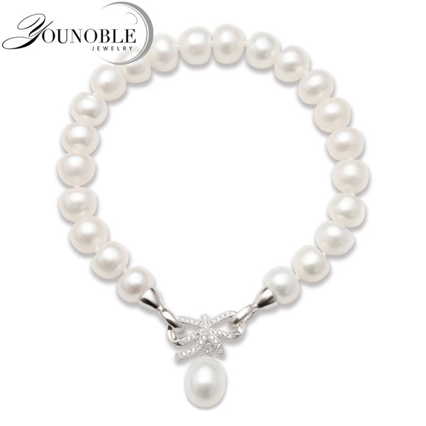 Fashion Cultured Freshwater Pearl Bracelet Natural Pearl Jewelry for Women,925 Silver Jewelry Bracelet Best Gift S18101507