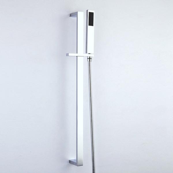 Brass Rotatable Lifting Slide Bar Hand Holder with Rain Handheld Shower Head & Bracket Holder Bathroom Chrome Hot Cold Faucet