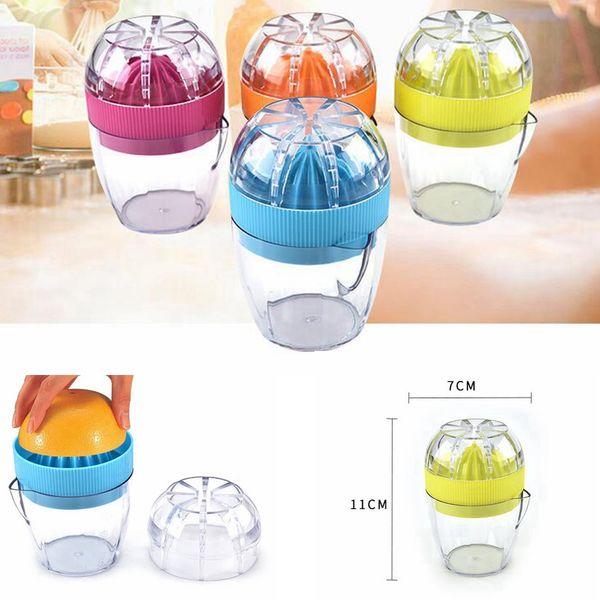 top popular Mini Manual Hand Squeezer Citrus Juicer Cup Orange Plastic Squeezer Lemon Press Juice Fruit Vegetable Tools AAA209 2021
