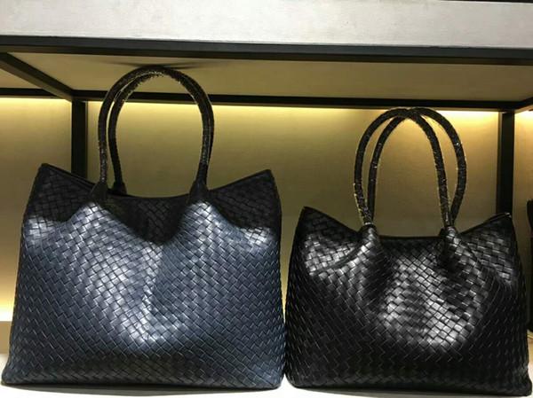 2018 women handmade material crochet handbag classic genuine sheep skin leather handbag casual tote big size 2pcs set kintting bag 33 & 37cm
