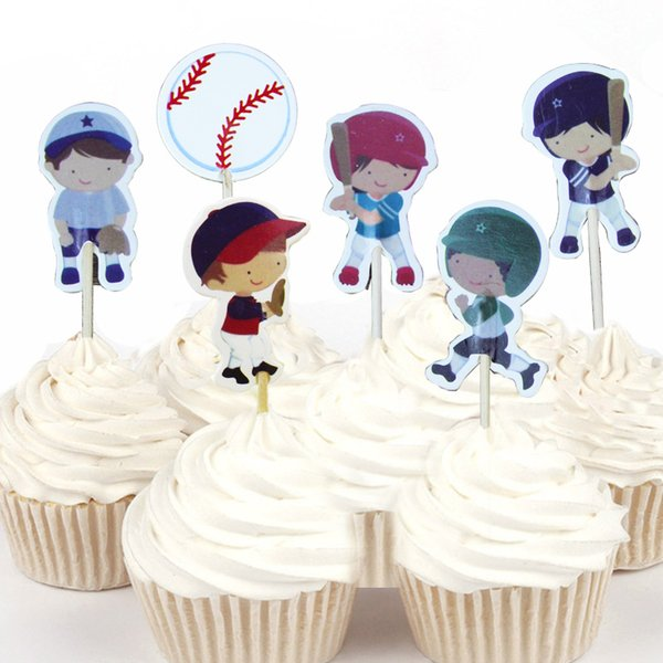 720pcs Cute Baseball boys girls Sports Cupcake Topper Picks Cartoon Theme Birthday Party Decorations Kids Evnent Party Favors