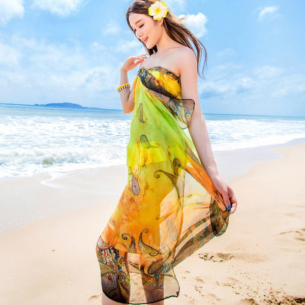 Scarves Chiffon Paisley Print Pareo Sexy Womens Summer Swimwear Dress Beach Cover Up Sarongs Bikini Scarf Plus Size Tunic Wraps