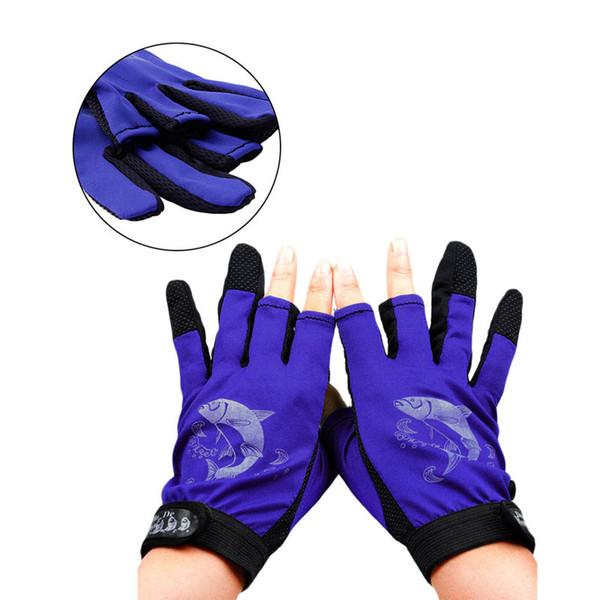 1Pair Waterproof 3 Cut Finger Anti-slip Non-Slip Fishing Gloves Outdoor Sport