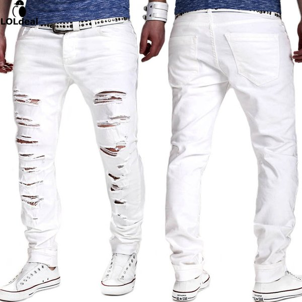 Loldeal NEW Denim Ripped Jeans for Men Skinny Distressed Slim Fit Designer Biker Hip Hop White Black Jeans Male Skinny