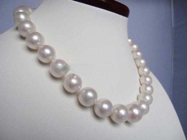 Beautiful 11-12mm Akoya Natural White Pearl Strand Necklace Handmade 18''AAA