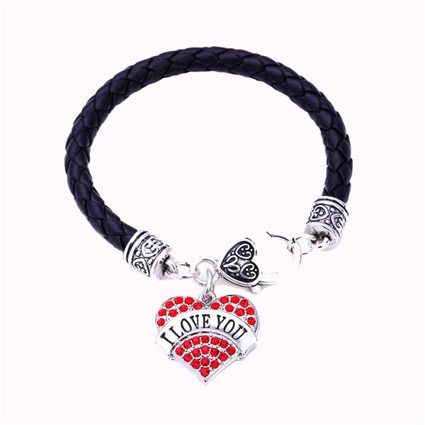 High Grade Bracelet For Women I LOVE YOU Written In Heart Pendant Romantic Sentence Suitable Gift For Lovers Zinc Alloy Dropshipping