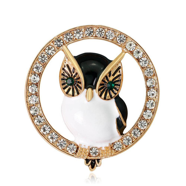 Crystal Owl Pin Brooch Designer Brooches Badge Metal Enamel Pin Broche Women Luxury Jewelry Xmas