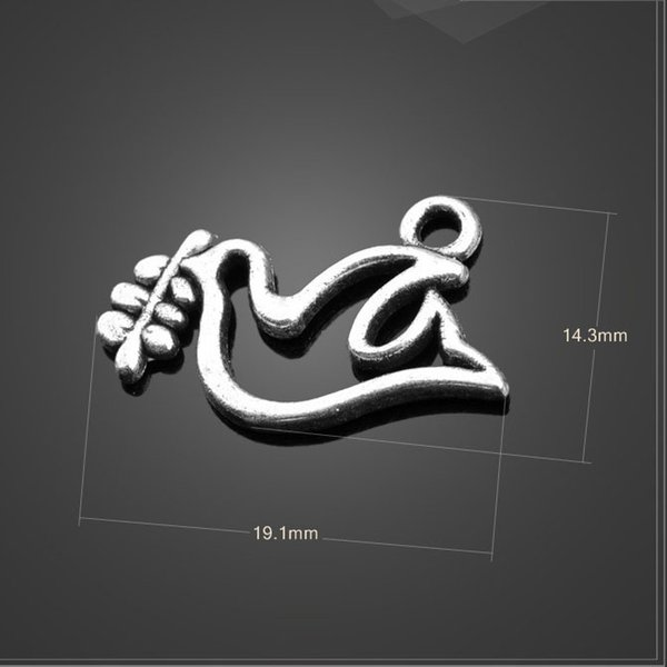 High quality 20 PCS/Lot 19.1mm*14.3mm antique tibetan silver diy handmade peace dove charms Jewelry making wholesale