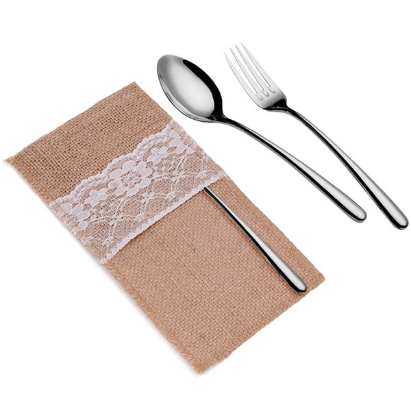 2018 50pcs Burlap Cutlery Holder Table decor Vintage Shabby Chic Jute Lace Tableware Pouch Packaging Fork & Knife Pocket Home Decoration