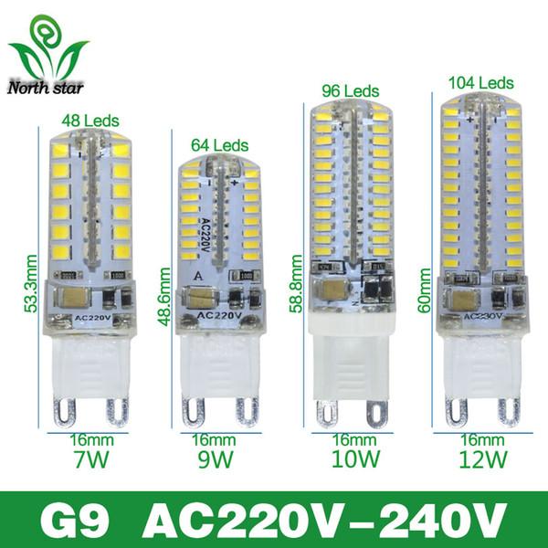 G9 levou milho lâmpada AC220V 3014 7 w 9 w 10 w 12 W 2835LED Cristal Silicone Vela Substituir 20-40 W lâmpadas de halogéneo lâmpada de Natal