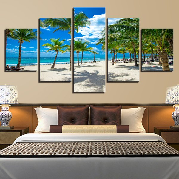 Modular 5 Panel Coconut Tree Beach Poster Canvas Painting Wall Art HD Print Summer Vacation Resorts Seascape Pictures Home Decor