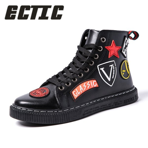 ECTIC Fashion Men Casual Leather ankle boots hip hop sneakers high top Male Vulcanized shoes dancing punk chaussure homme DP-150