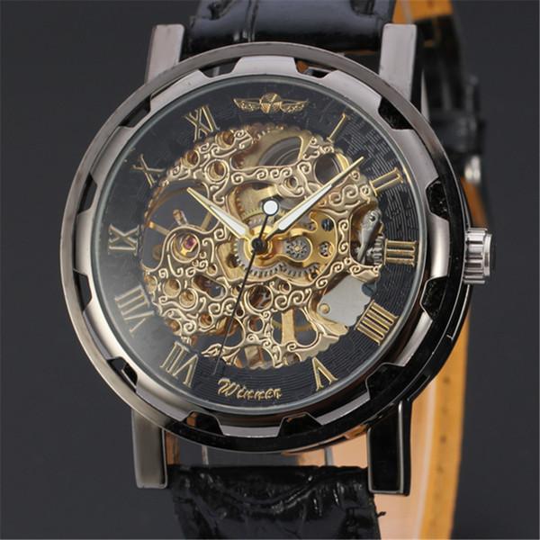 GEWINNER Mens Handgelenk Mechanische Uhr Männer Top-marke Luxus Uhr Business Skeleton Männlichen Uhren Militär Sport Armee Uhren 109 D18100901