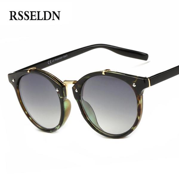 65ae2891e921 RSSELDN 2018 New Round Sunglasses Women brand designer Fashionable Rivet Design  Women's glasses Protect Sun glasses