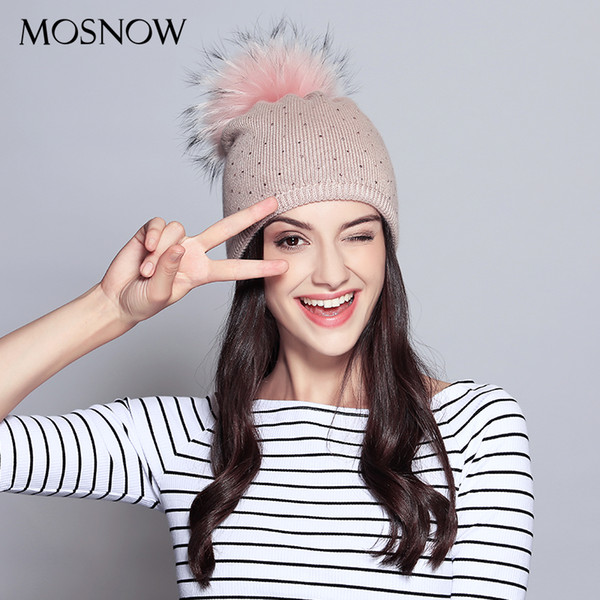 Wool Beanie For Women 2018 New Casual Hat Raccoon Fur Pompom With Rhinestone Cap Winter Knitted Ladies Hat Skullies Beanies D18110102