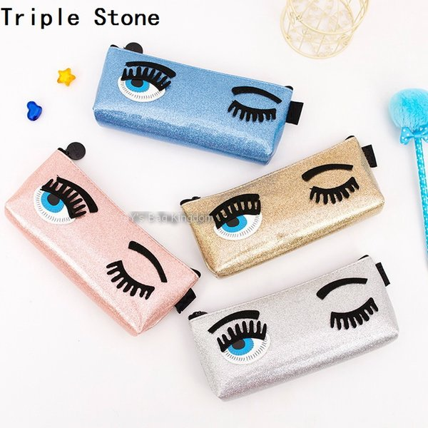 Luxury Brand Blink Eyes Women Makeup Cosmetics Bag Spearl Skin beautician bag Leather Pencil Case Make Up Travel Storage Pouch