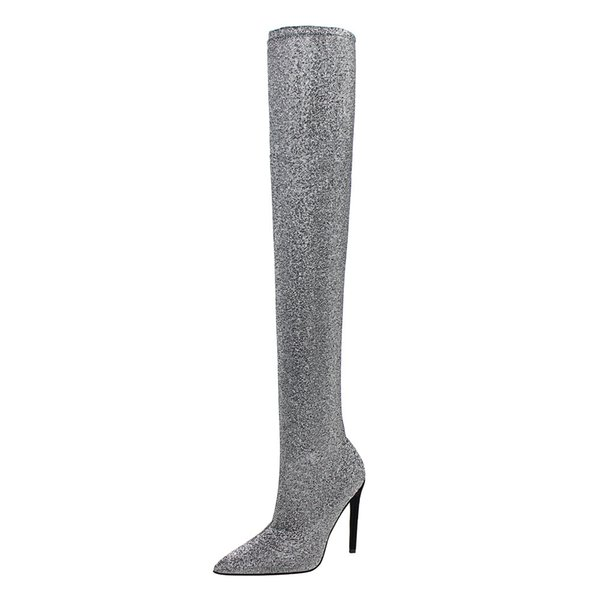 European American style sexy stiletto high heel women boots pointed sequin cloth long tube over knee boots simple women's shoes