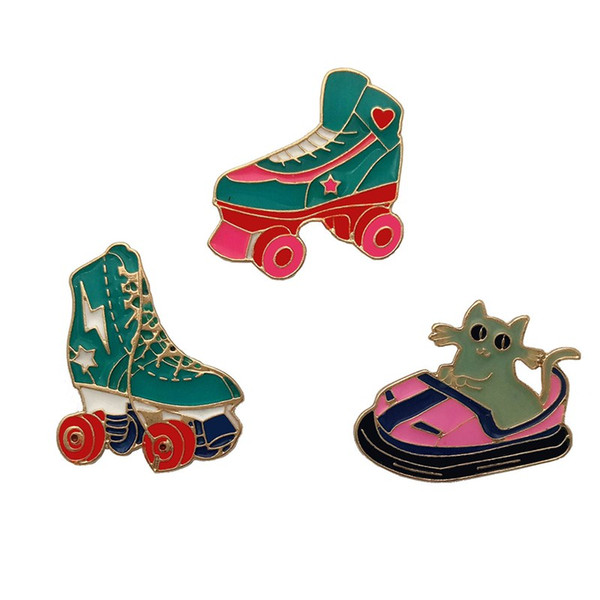 Roller skates Small Size Cute Alloy Enamel Brooches Pins Mini Lapel Pins For Mens Women Clothes Suit Shirt Collar Decor Accessories Fashion