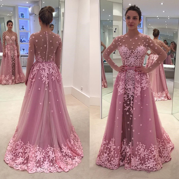 e9b6d2baeef Sexy Illusion Flowers Prom Dresses With Detachable Overskirt Sheer Long  Sleeve Appliqued See Through Celebrity Party