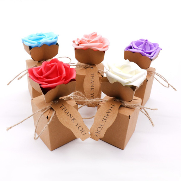 Kraft Rose Flower design DIY Vintage paper Candy Boxes Gift Bags Chocolate Packaging Party Wedding Decoration Favors 200pcs/lot