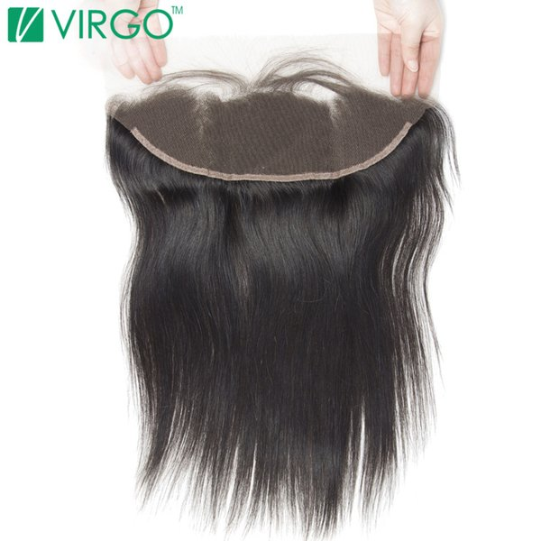 Virgo Hair Company Pre Pizzicate Frontal Straight Straight 100% Remy Human Hair Marrone medio Top Swiss Lace With Baby