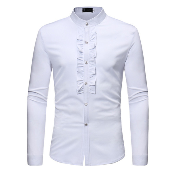 England Casual Shirt Men Wedding Style Blouse Harajuku Clothing Tops Novelty Flowers Decor Elegant Shirts Male Night Club Blusa