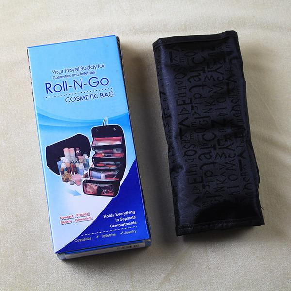 Roll N Go Custodia cosmetica per trucco Custodia pieghevole per donna Travel Buddy Toiletry Organizer portatile Hanging Jewelry Make Up Tool Kit con scatola al minuto