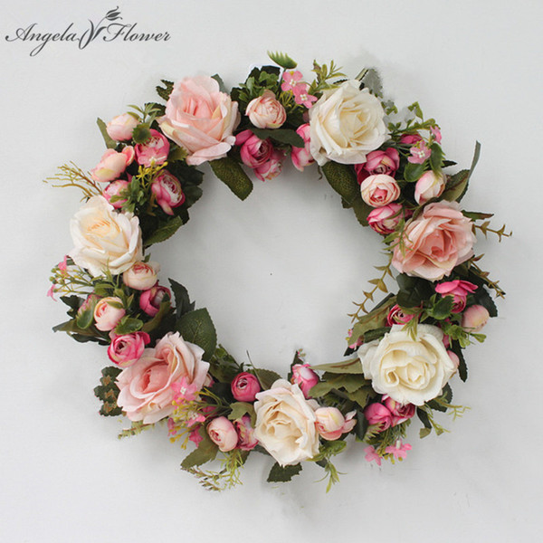 DIY garden rose artificial flower garland wreath hanging door decoration heart shaped wreath door Christmas decor flowers gifts